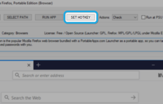 Portable Software Updater - Set hotkey