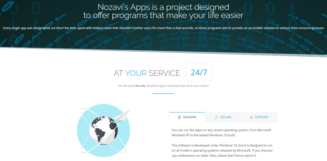 Nozavi's Apps Website Screenshot