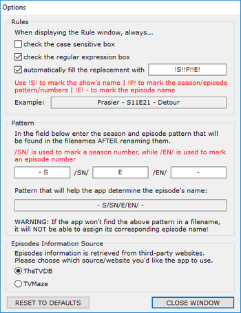 TV Episodes Renamer - Options Window